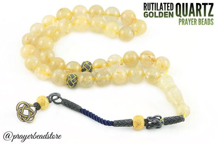 Rutilated Golden Quartz Prayer Beads with Knitted Pure Silver Tassel #prayerbeads #quartz #gemstone
