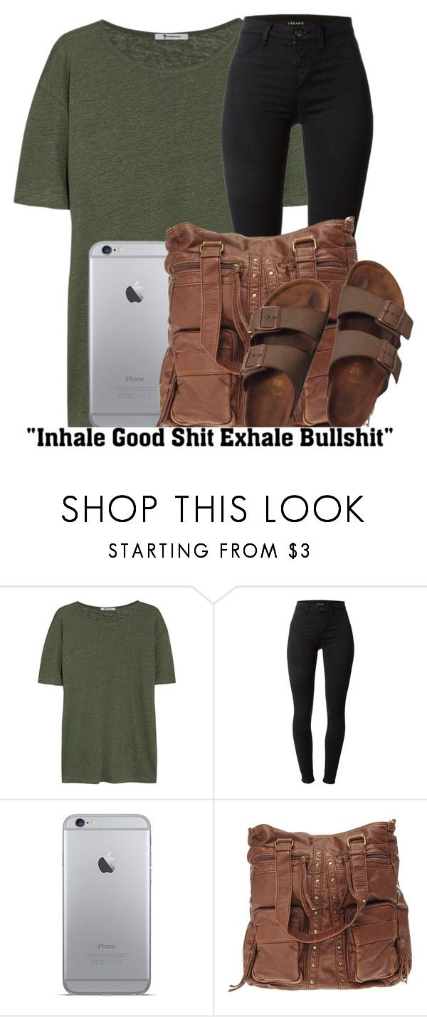 """""""Bonfire ✘ Childish Gambino"""" by shermeacka ❤ liked on Polyvore featuring T By Alexander Wang, J Brand and Birkenstock"""