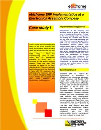 Case study Electronics Assembly 1 - ebizframe ERP- Software Solutions and Development Company India