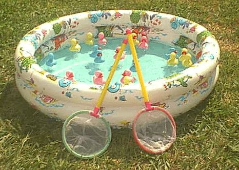 fishing in a kiddie pool. This summer with their butterfly nets! :)
