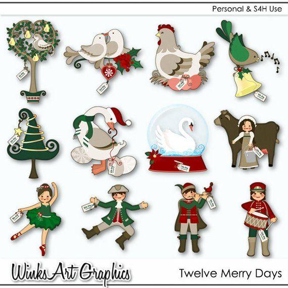 Twelve Merry Days 12 Days Of Christmas Digital Images Etsy In 2021 12 Days Of Christmas Christmas Art Projects Twelve Days Of Christmas