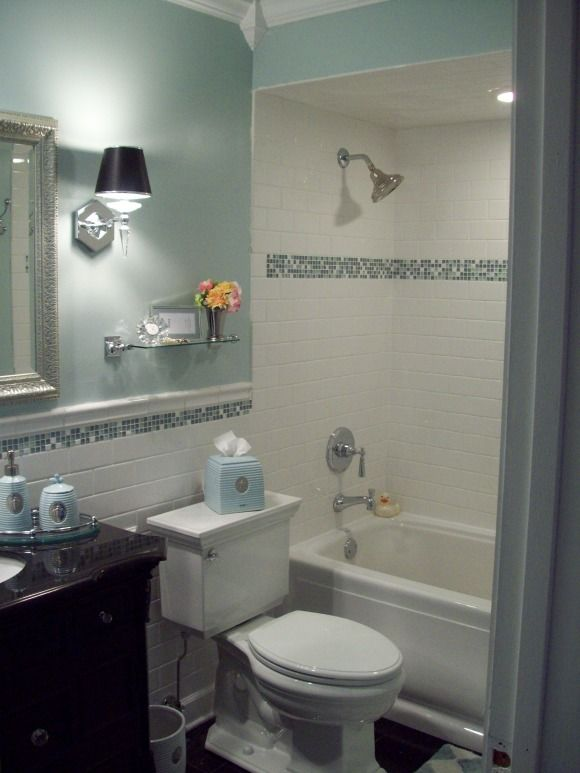 Exceptional Spa Blue Bathroom Makeover In Black, White And Blue With Crystal Accents.,  I Wanted A Super Clean Look So I Went With Arctic White Subway Tile And  Glass ... Part 16