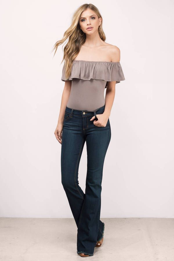 Feel sexy and chic in the Elva Tiered Off Shoulder Bodysuit. Featuring a  simple look. Pair with your favorite pair of high-waisted jeans! - Fast   … f39dc573a