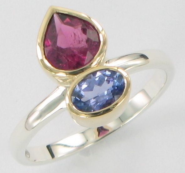 2 stone ring Tanzanite pink tourmaline 2 tone