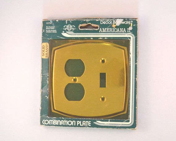 Vintage Combination Light And Outlet Brass Cover by FarahsAttic, $7.00