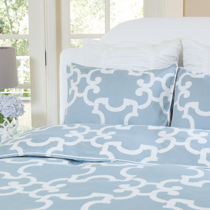 sleep chic with beautiful blue bedding and duvet