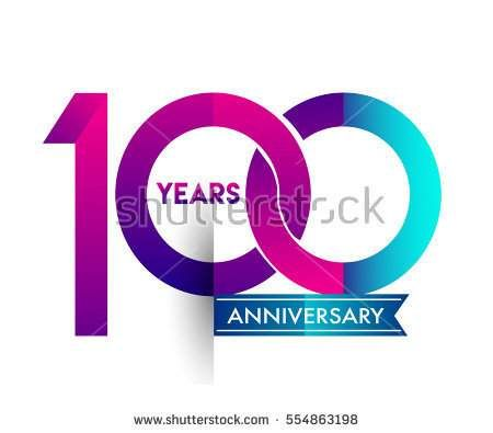 100th years anniversary celebration logotype colorfull design with blue ribbon, one hundred birthday logo on white background