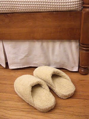 Make spa slippers out of old towels!