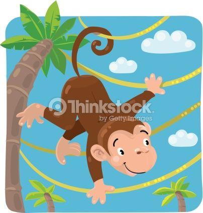 Vector Art : Little funny monkey on lians