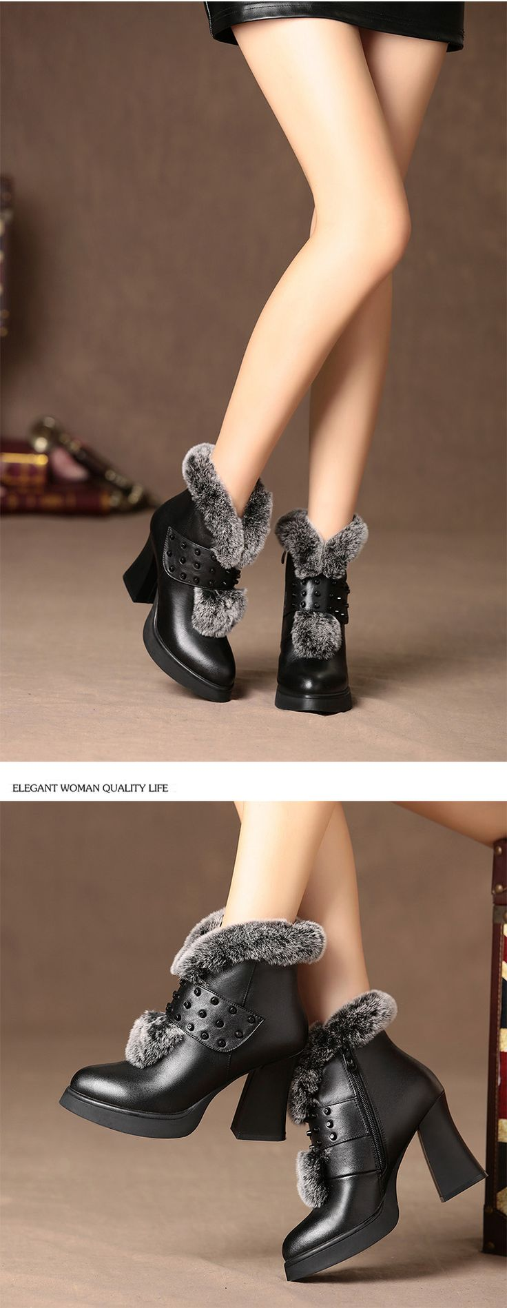 Genuine Leather Ankle High Heel Rabbit Fur Boots