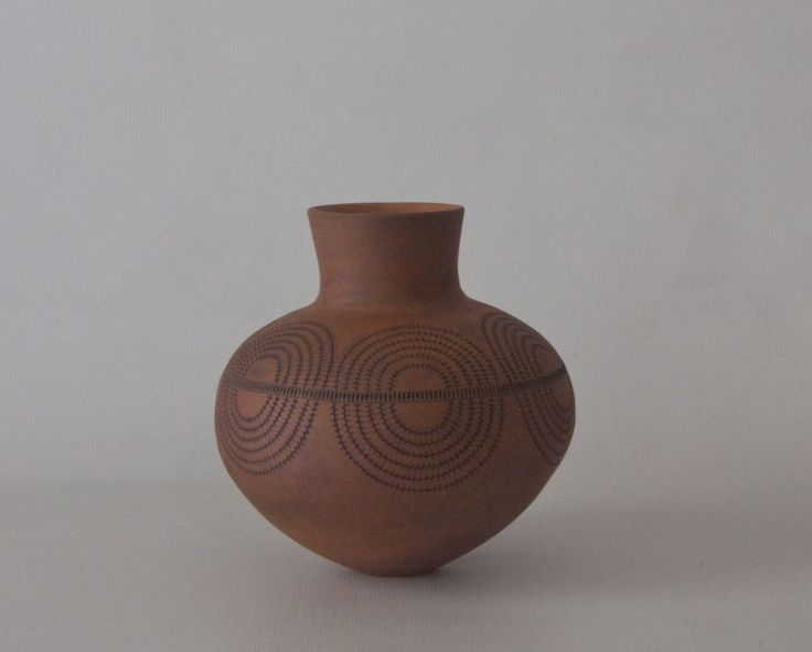 Coiled, terracotta clay, black inlay