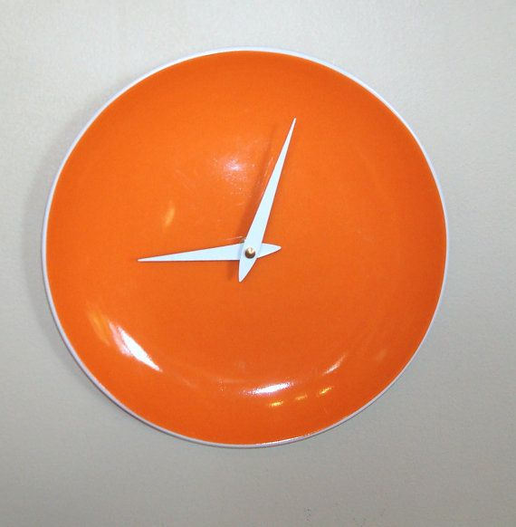 Orange Wall Clock  9 Inch Wall Clock  Orange Home by makingtimetc, $28.00
