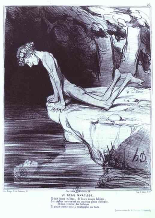 The Beautiful Narcissus, 1842 by Honore Daumier. Realism. caricature. Bibliothèque nationale de France (BnF), Paris, France