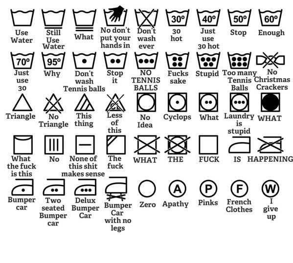 Symbole, które pomagają w praniu ubrań.