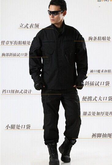 Армии сша военная форма для мужчин Черный боевой форменные костюмы тренировочную форму брюки и куртка S-XXL