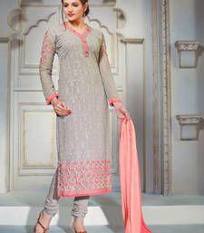 Buy Grey georgette embroidered semi stitched salwar with dupatta pakistani-salwar-kameez online