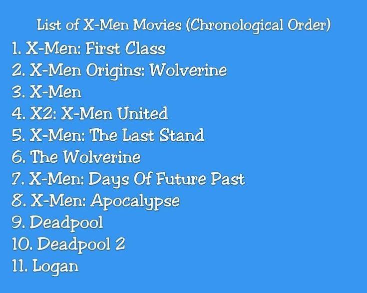 List Of X Men Movies List Movies Xmen Man Movies Marvel Movies In Order X Men