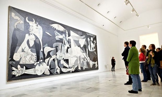 The  Guernica-When Picasso started to paint his protest at the bombing of Guernica, the ancient Basque capital, by Hitler's air force on behalf of Franco in the Spanish Civil War, he was at the height of his powers. Thirty years after painting his subversive modernist grenade of a picture Les Demoiselles d'Avignon, his cubist intelligence was now enriched by the mythology and poetry unleashed by the surrealist movement. He also looked back to such historical paintings as Raphael's Fire in…