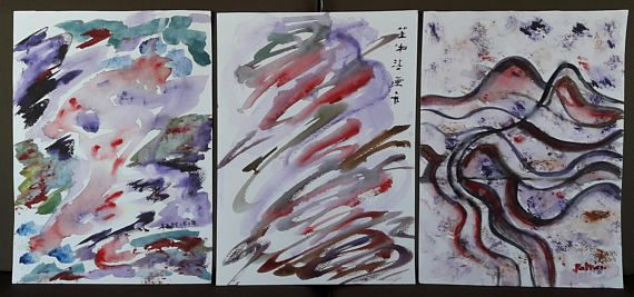 Tryptich aquarelle original paintings  landscapes trees