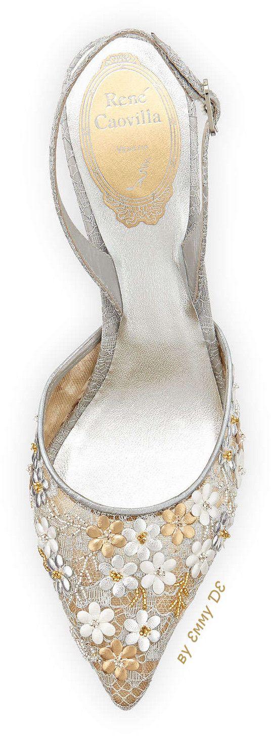 Emmy DE * Rene Caovilla Metallic Floral Slingback Sandal – SHOES…レ O √ 乇  ♥  Group Board