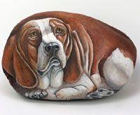 Painted Rocks: Pebble Rocks, Stones Art, Paintings Stones, Rocks Dogs Portraits, Paintings Rocks Dogs, Basset Hound, Rocks Animal, Rocks Paintings, Rocks Art