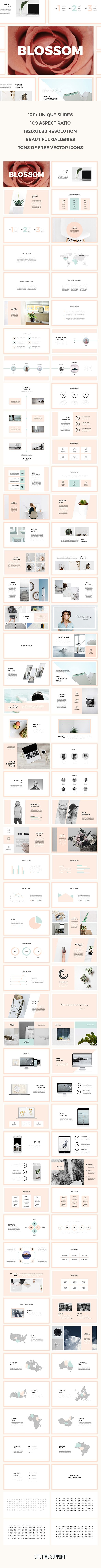 Blossom PowerPoint Template  #photo album #ppt • Download ➝…