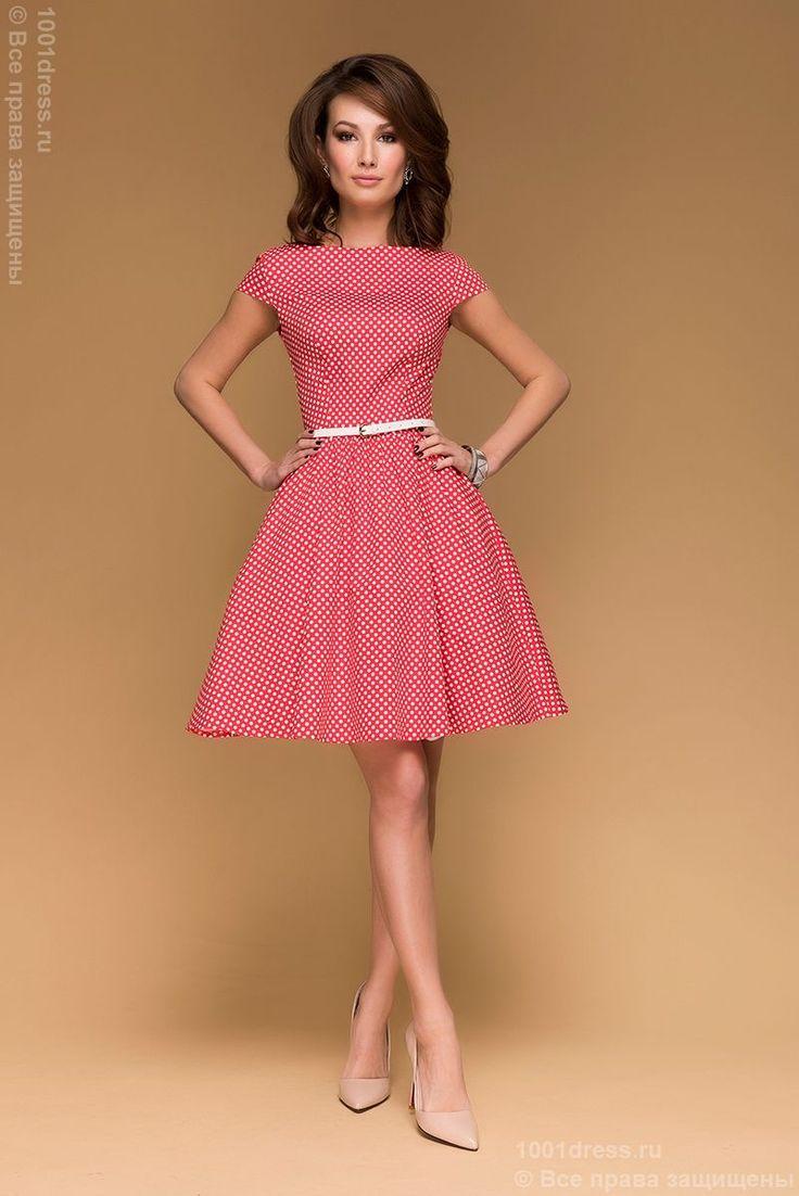 Красное платье в горошек с короткими рукавами купить в интернет-магазине 1001 DRESS