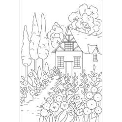 Pattern Detail | Cottage with Garden | Needlecrafter free download