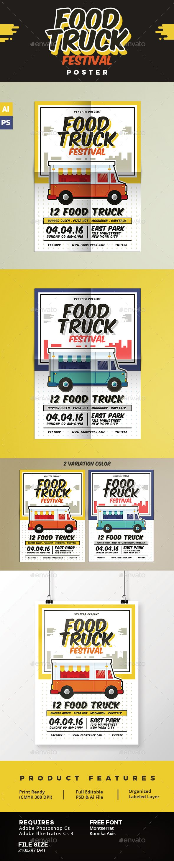 Food Truck Festival Poster Template PSD. Download here: http://graphicriver.net/item/food-truck-festival-poster/15778461?ref=ksioks