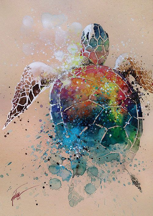 Turtle • watercolor with gouache painting • A3 • art print