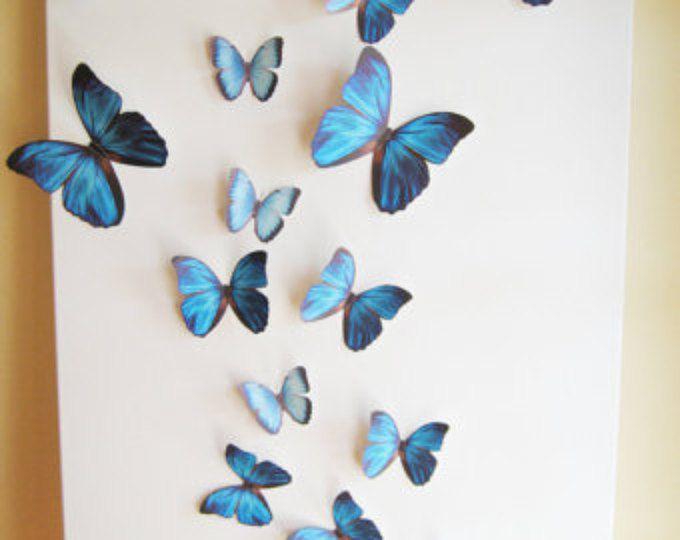 18 Butterflies, Blue, Something Blue, Butterfly,  Wall Decor, 3D, Nursery, Baby, Wedding, Baby Shower, Girls Room, Cardstock