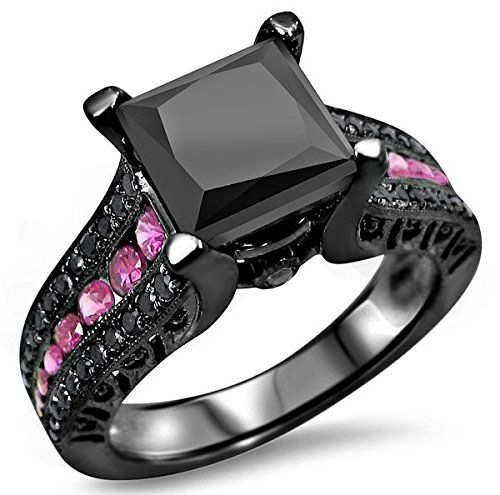 Princess Cut 2.5CT Black Diamond Rhodium Plated Women's Ring