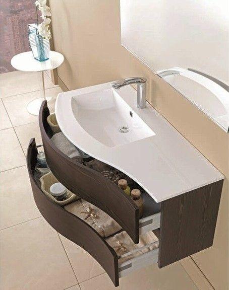 Mobiltesino mobile unico curvo da 106 cm la ceramica for Mobili bagno on line scontati