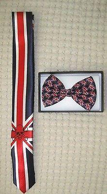 UK British Flag Skinny Neck Tie & UK British Adjustable Bow Tie Combo-A9