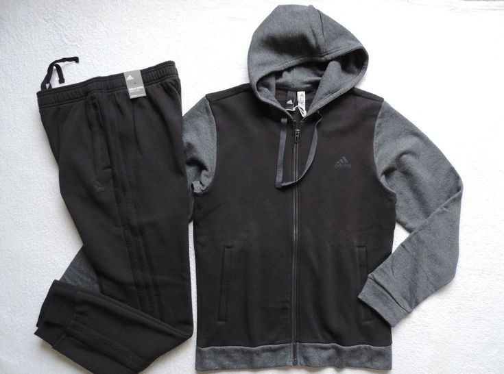 Adidas Men's Energize Hoodie Tracksuit, 2-Peice, Black/Grey #adidas #TracksuitsSweats