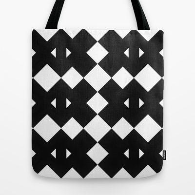 Branting Black & White Pattern Tote Bag by Stoflab