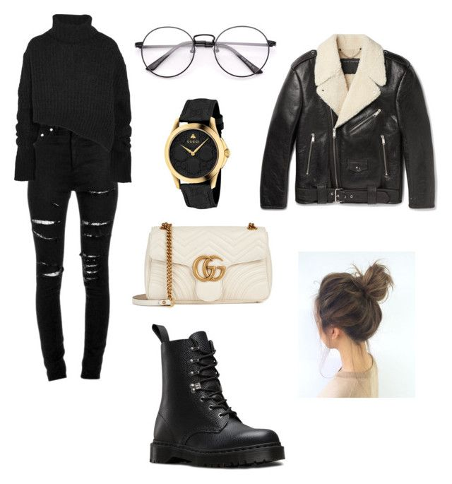 """Untitled #5"" by idaayudevinaputrisuteja ❤ liked on Polyvore featuring Yves Saint Laurent, Ann Demeulemeester, Marc Jacobs, Gucci and Dr. Martens"