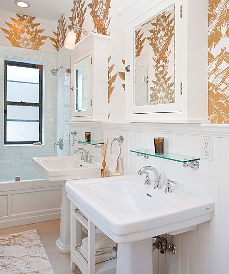 guest bath ideas - subway tile just around bathtub, maybe wall mtd med cabs: Bathroom Design, Glasses Shelves, Pedestal Sinks, Medicine Cabinets, White Bathroom, White Gold, Bathroom Shelves, Girls Bathroom, Brooklyn