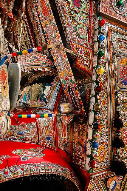 Detailed example of truck art in Pakistan