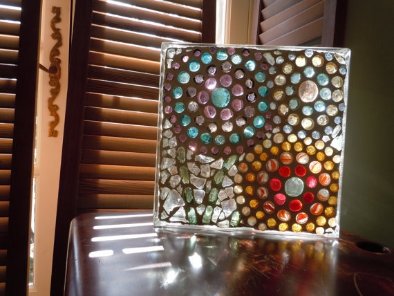 love this mosaic with glass beads on a glass block!