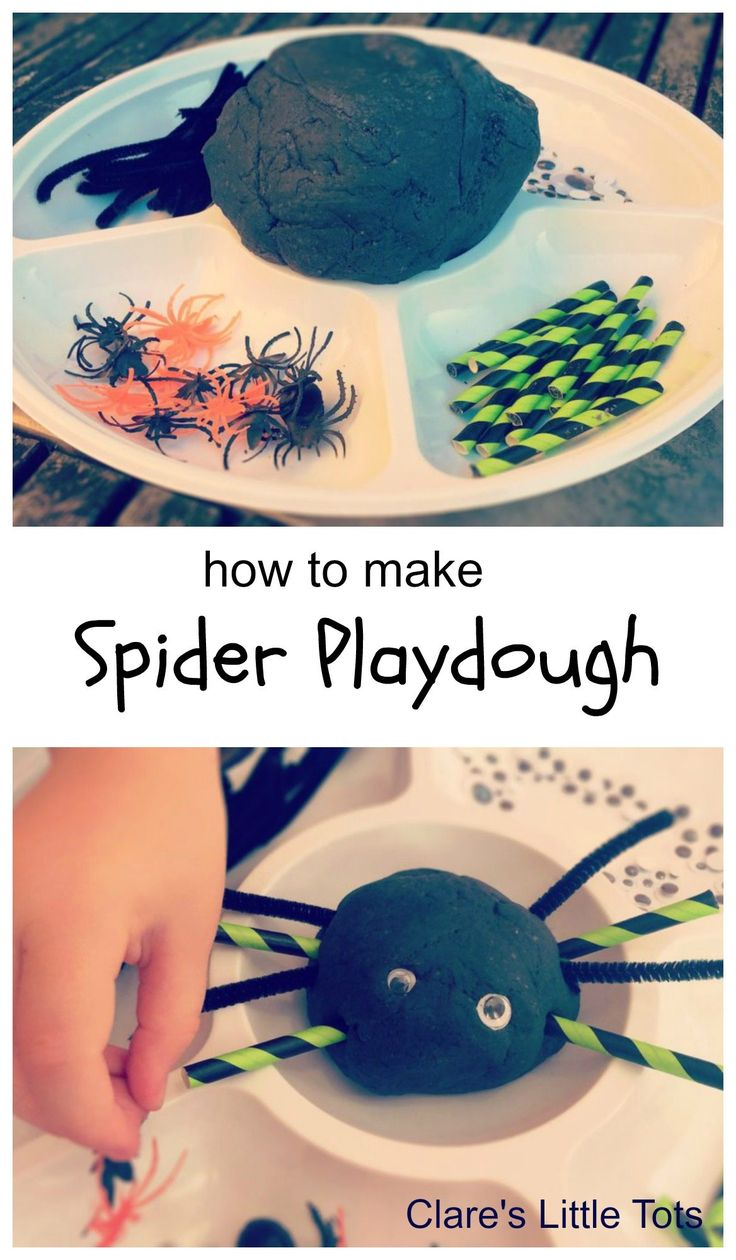 Super spooky spider playdough for a fun Halloween invitation to play. Sensory and creative fun for toddlers and preschoolers.