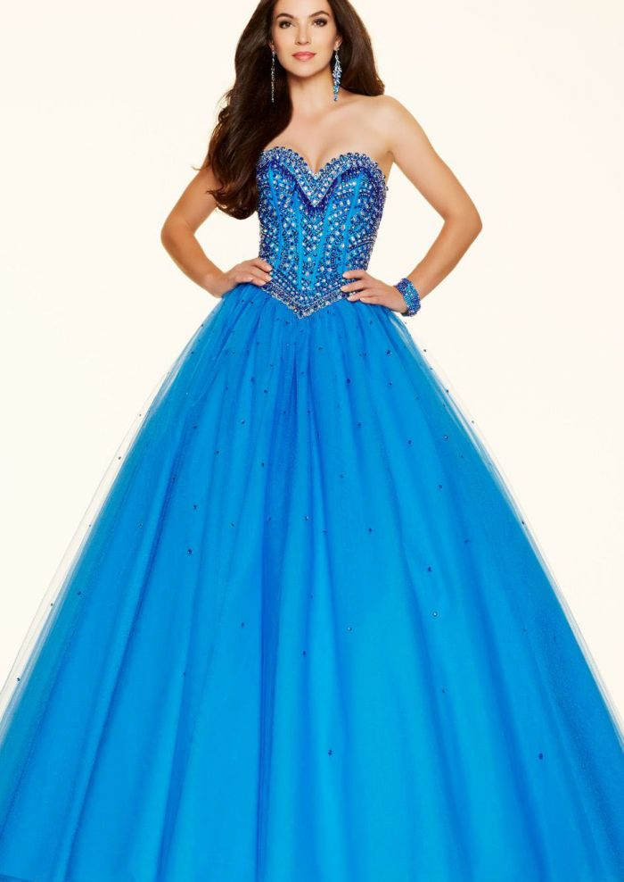 2016 Beading White Blue Lace Up Tulle Ruched Sleeveless Sweetheart Floor Length Ball Gown / Prom Dresses 1601271040