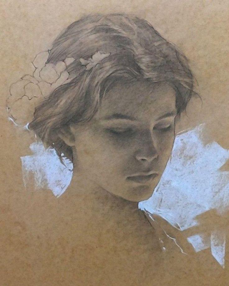 Romel de la Torre (b. 1963), pencil on toned paper {figurative art beautiful female head woman face portrait drawing #loveart}