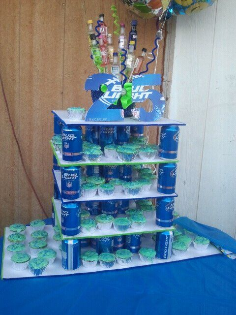 Bud Light Cupcakes | As for the basket on top ( sorry a little blurry) my sister made it ...