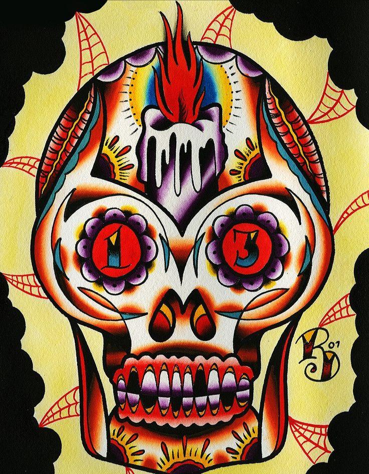 Muerto I by Ryan Downie Mexican Sugar Skull Tattoo Canvas Art Print