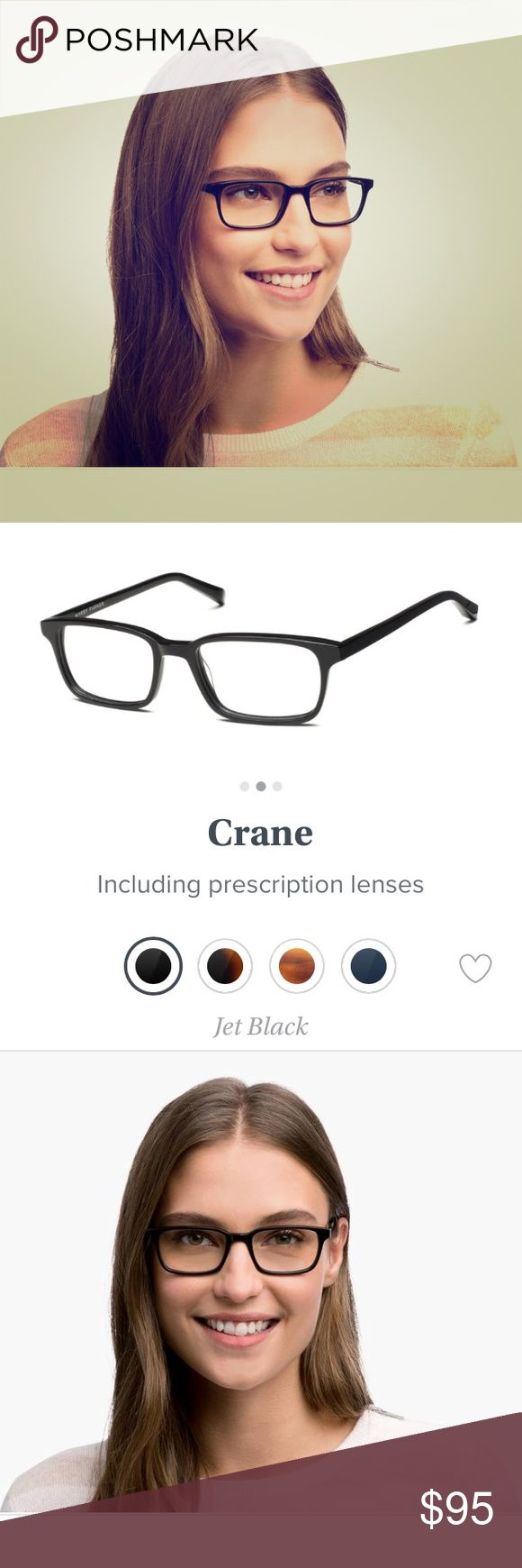 NWT Warby Parker Crane jet black eye glasses Authentic non prescription eye glasses. Super durable and chic. Open to reasonable offers. Glasses can be changed to prescription. Warby Parker Accessories Sunglasses