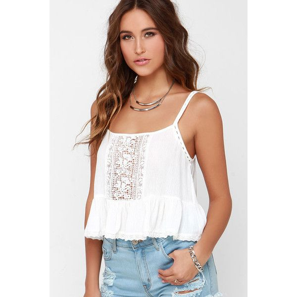 Fairy Trail Ivory Lace Crop Top ($15) ❤ liked on Polyvore featuring tops, outfit, shirts, white, lace shirt, ivory lace top, floral shirt, white sheer top and lace trim top