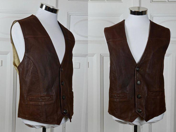 Brown Leather Vest, Men's German Vintage Buffalo Leather Waistcoat, Motorcycle Biker Hipster Rocker Vest: Size XL (42 US/UK) by YouLookAmazing on Etsy