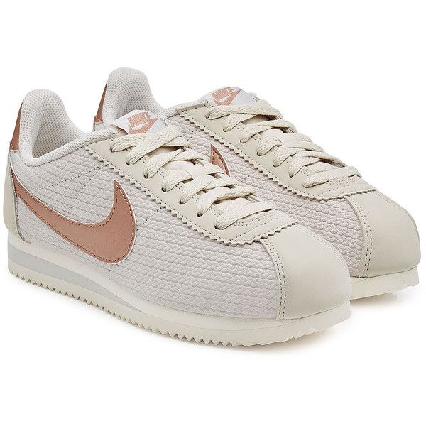 Nike Classic Cortez Leather Lux Sneakers (£69) ❤ liked on Polyvore featuring shoes, sneakers, grey, leather trainers, nike footwear, nike shoes, grey leather shoes and real leather shoes