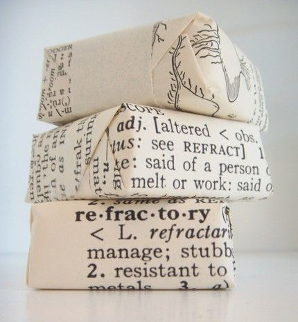 wrapped in old dictionary paper. could also use old books of any sort.: Books Pages, Idea, Gifts Wraps, Diy Gifts, Small Gifts, Wraps Paper, Wraps Gifts, Shea Butter, Old Books